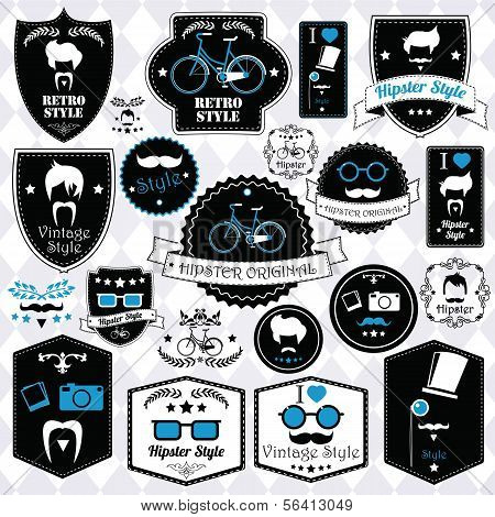 Collection of vintage hipster badges, labels and stamps, vector illustration
