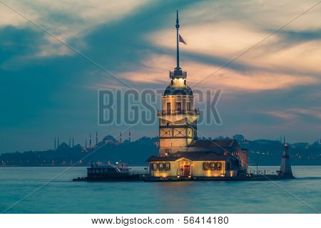 Famous Maiden's Tower in Istanbul with Blue Mosque and Hagia Sophia on the background