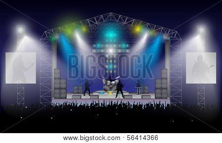 Rock-Konzert. Vektor.