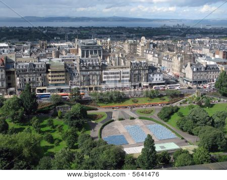 Aerial view of Edinburgh, the capital of Scotland.