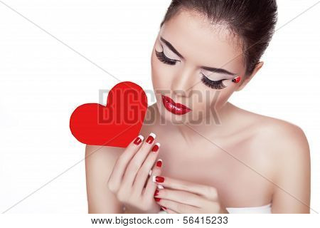 Portrait Of Beautiful Attractive Woman With Glamour Bright Makeup Holding Red Heart In Her Hand Isol