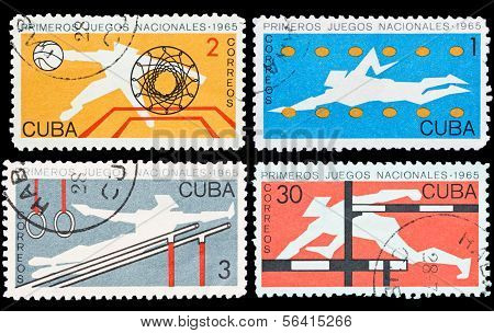 Set Of Cuba Stamps, First National Sport Games