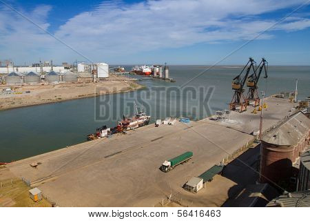 BAHIA BLANCA, ARGENTINA - NOV 30: View on the premises Port of Ingeniero White, Nov 30, 2010 in Bahia Blanca, Argentina. Now is a major trading port, 2nd largest and deepest port in the country.