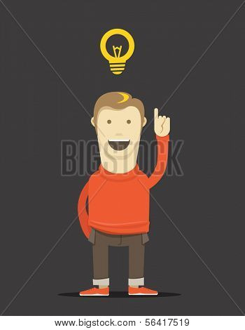 The thinking man illustration. Good idea