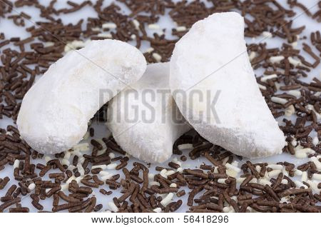 cookies with almonds lunate sprinkled with powdered sugar