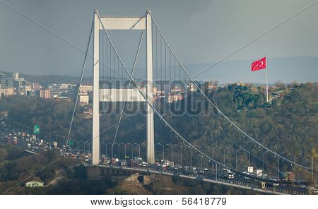 ISTANBUL - November4: The South Tower of FSM (Fatih Sultan Mehmet Bridge) on November 4, 2013 in Istanbul, Turkey