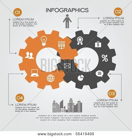 Intersecting gears and icons Business and Technology.  Background design infographic.