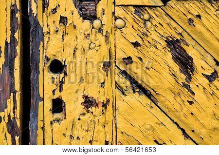 Old Yellow Wooden Door