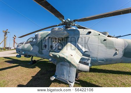 "Togliatti, Russia - May 2, 2013: The Mil Mi-24V (nato Reporting Name ""hind"") Is A Large Helicopter G"
