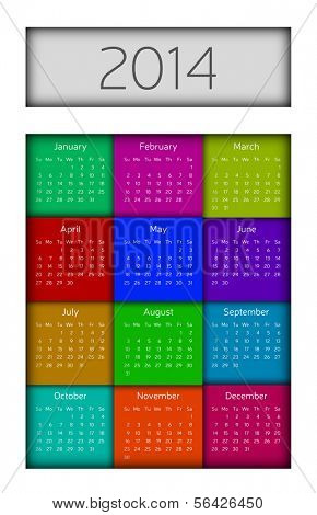 Modern colorful simple square design 2014 calendar