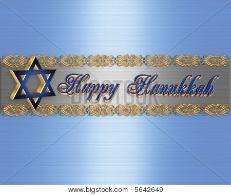 Happy Hanukkah Card Elegant border