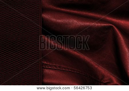 Black And Red Leather Background With Margin