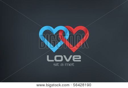 2 Hearts loop locked vector logo design template. Forever Love marriage wedding concept icon. Coupl