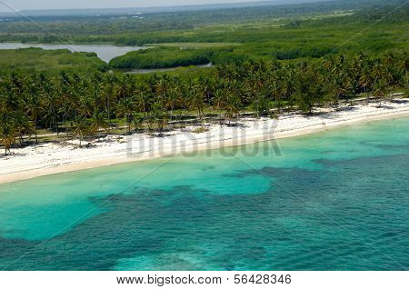 Beach from above, taken from helicopter. Dominican Republic.