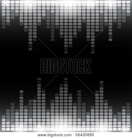 Grayscale digital equalizer background with flares