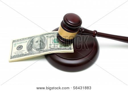 Money And Gavel On White Background Close Up