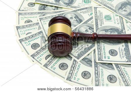 Gavel And U.s. Dollars Closeup