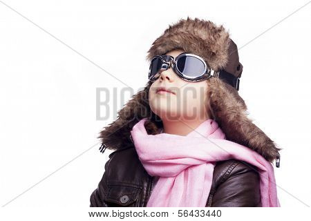 Day dreaming pilot child, isolated on a white background