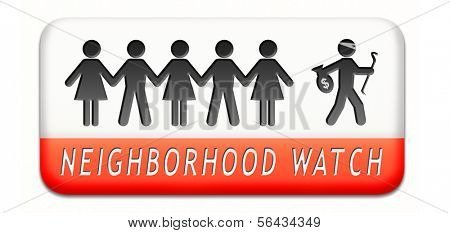 neighborhood guard or crime watch stopping thief,  thieves alert and protection of anti theft prevention
