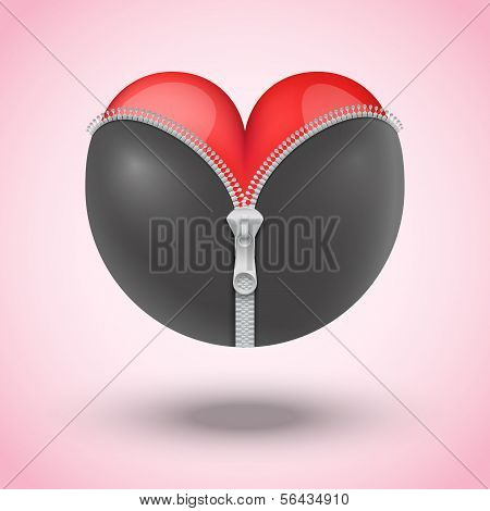 Red heart in black leather