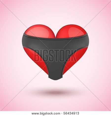 Red heart in black leather briefs