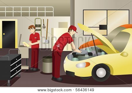 Auto Mechanic Working On A Car
