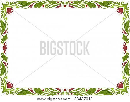 Illustration of a Frame with Leafy Vines for Borders