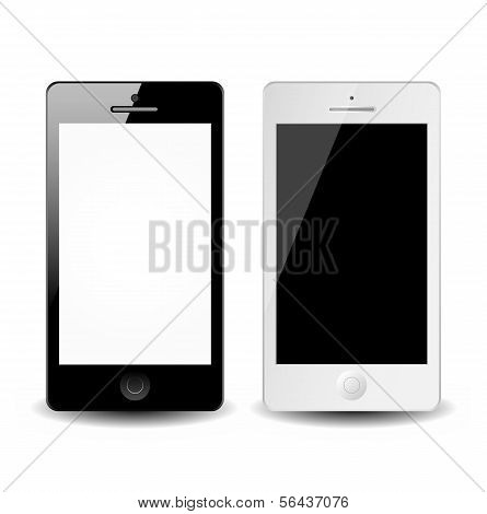 Vector smart phones isolated on white background