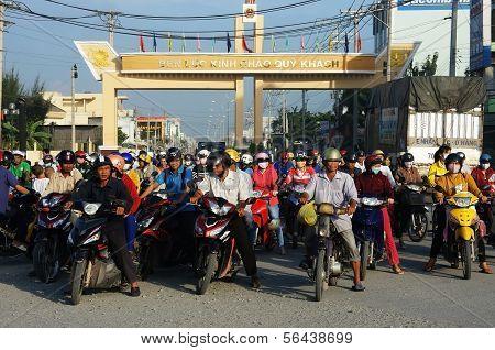 People Wear Helmet, Ride Motorbike Waiting Traffice Signal