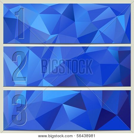 poster of Vector infographic enumerated modern presentation blue banner set