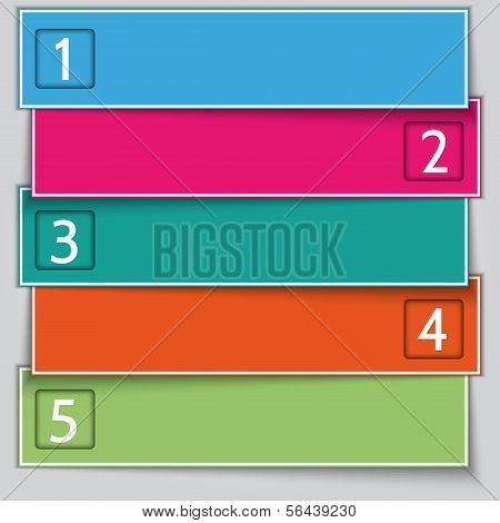 Vector multicolor paper enumerated banner list