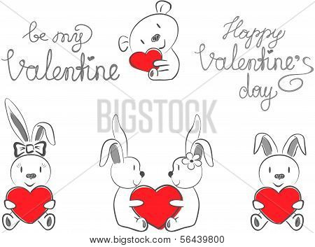 Valentín conejos y oso con corazón rojo
