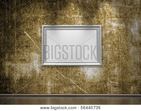 Dirty grunge wall with empty frame