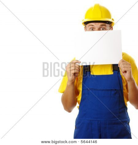 Anxious Worker Showing Blank Message