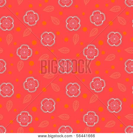 Ditsy pattern with small white sakura flowers