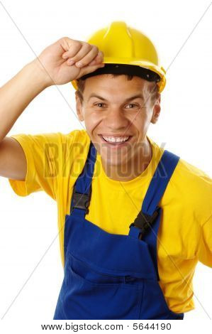 Happy Worker Taking Off His Hard Hat And Smile