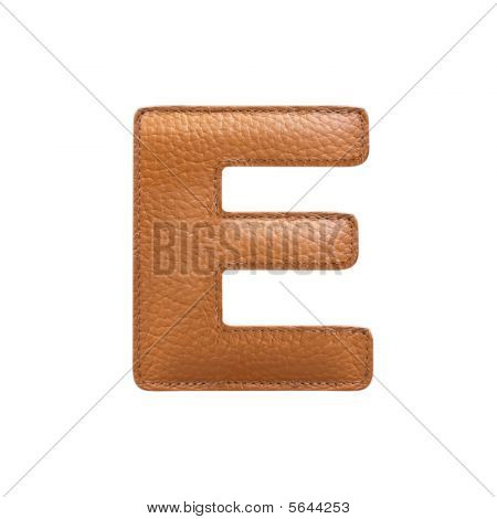 Letter E Made Of Leather