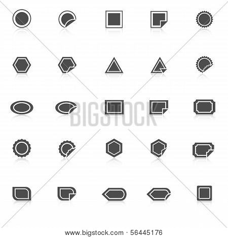Label Icons With Reflect On White Background