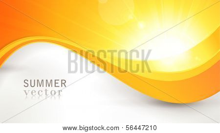 Summer background with a magnificent vector sun burst with lens flare and wavy lines pattern in bright orange and yellow colors.