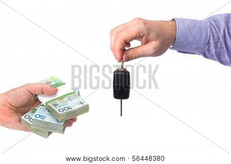 Buying new car for cash symbol on white background