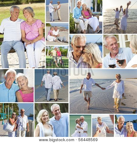 Montage of happy old senior man woman couples people enjoying an active retirement lifestyle on the beach, walking by a river or lake, drinking wine and cycling
