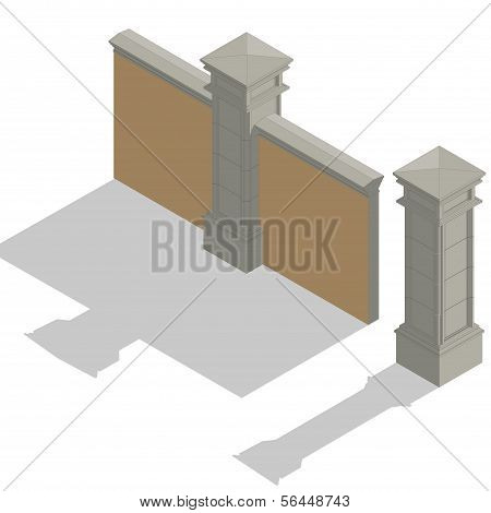 Vector isometric fence set, construction kit
