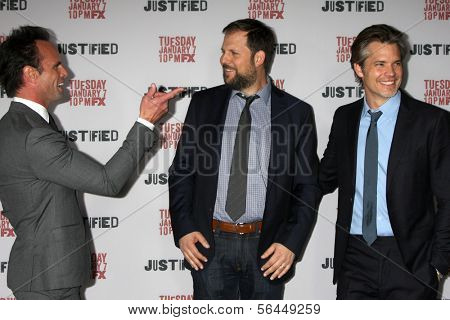 LOS ANGELES - JAN 6:  Walton Goggins, Nick Rad, Timothy Olyphant at the