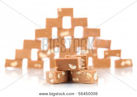 Many toffee isolated on white