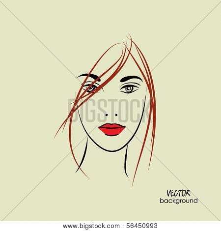 art sketched beautiful girl face from the front, with straight hair, in vector