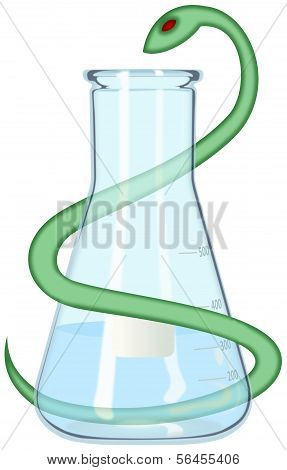 Laboratory flask looped by medical serpent