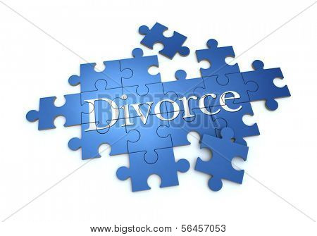 3D rendering of a puzzle with the word divorce