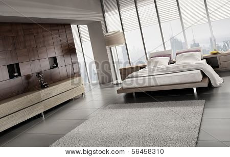 A 3D rendering of light modern bedroom