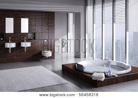 A 3D rendering of modern bathroom with double basin and jacuzzi