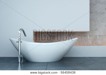 A 3D rendering of modern bathtub in front of white wall